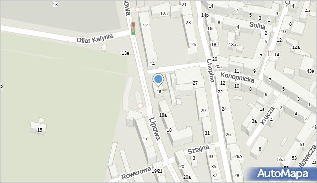 Lublin, Lipowa, 16, mapa Lublina