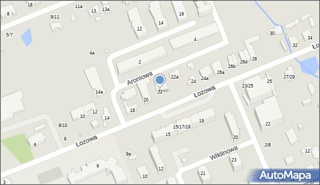Łódź, Łozowa, 22, mapa Łodzi