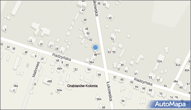 Siedlce, Łukowska, 56, mapa Siedlce
