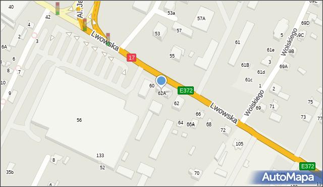 Zamość, Lwowska, 62A, mapa Zamościa