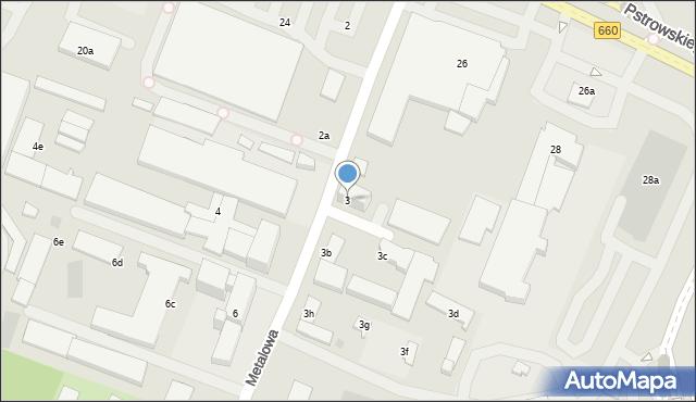 Olsztyn, Metalowa, 3, mapa Olsztyna