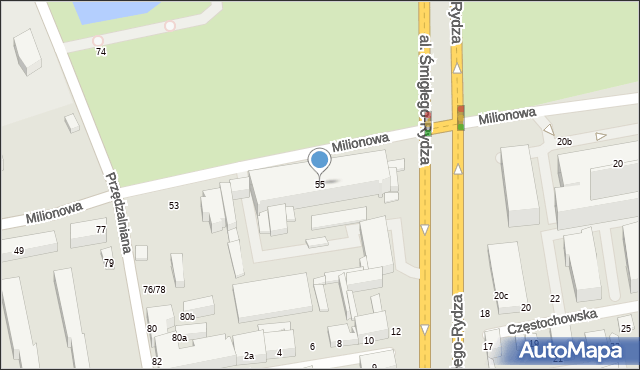 Łódź, Milionowa, 55, mapa Łodzi
