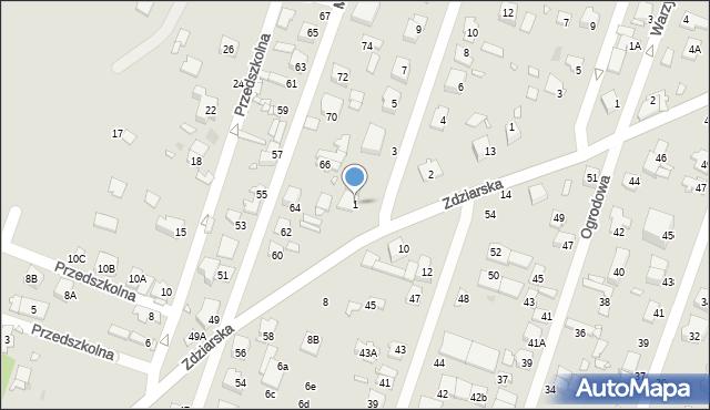 Pruszków, Miodowa, 1, mapa Pruszków