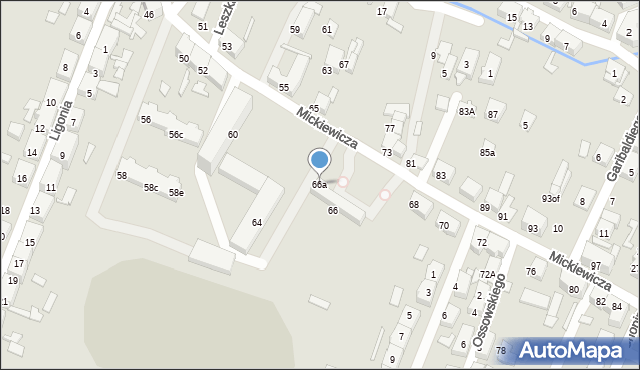 Zabrze, Mickiewicza Adama, 66a, mapa Zabrza