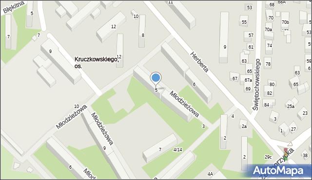 Lublin, Młodzieżowa, 5, mapa Lublina