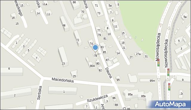 Kraków, Dauna, 78, mapa Krakowa