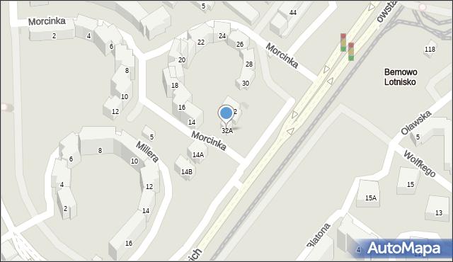 Warszawa, Morcinka Gustawa, 32A, mapa Warszawy