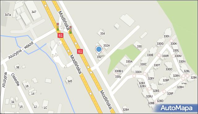 Warszawa, Modlińska, 332, mapa Warszawy