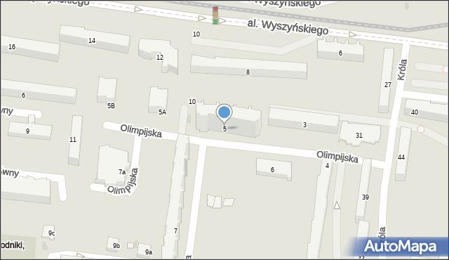 Łódź, Olimpijska, 5, mapa Łodzi