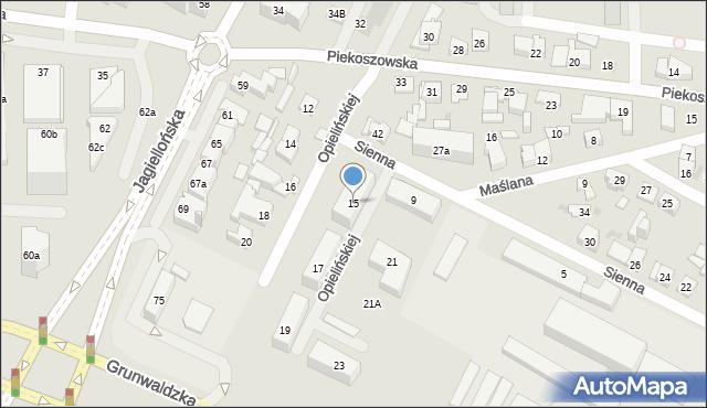 Kielce, Opielińskiej Marii, 15, mapa Kielc