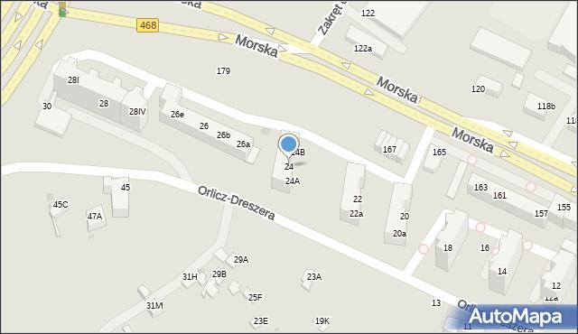 Gdynia, Orlicz-Dreszera Gustawa, gen., 24, mapa Gdyni