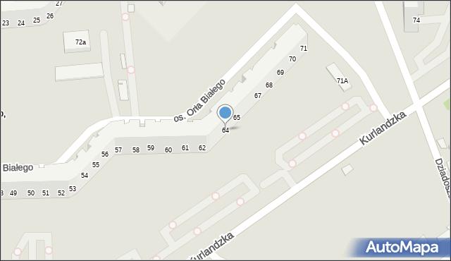 Poznań, Orła Białego, os., 64, mapa Poznania