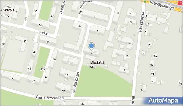 Kraków, Osiedle Młodości, 7, mapa Krakowa