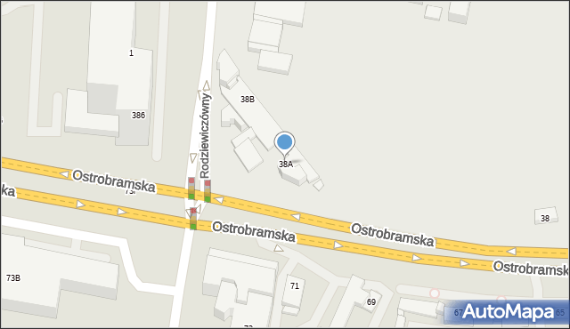 Warszawa, Ostrobramska, 38a, mapa Warszawy