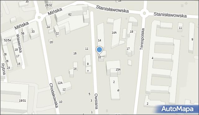 Warszawa, Owsiana, 12, mapa Warszawy