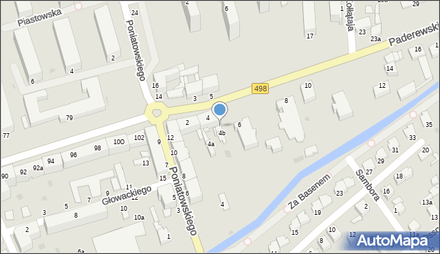 Grudziądz, Paderewskiego Ignacego Jana, 4c, mapa Grudziądza