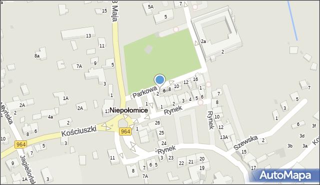Niepołomice, Parkowa, 4, mapa Niepołomice