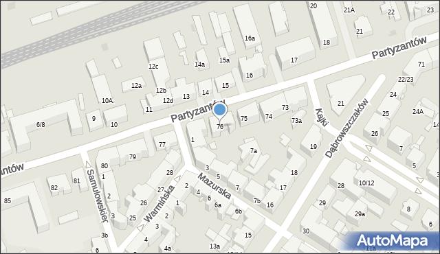 Olsztyn, Partyzantów, 76, mapa Olsztyna