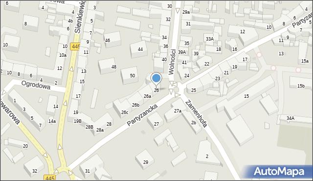 Ostrów Wielkopolski, Partyzancka, 26, mapa Ostrów Wielkopolski