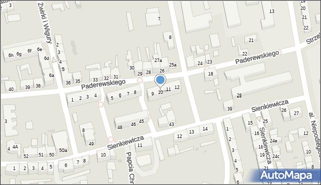 Słubice, Paderewskiego, 10, mapa Słubice