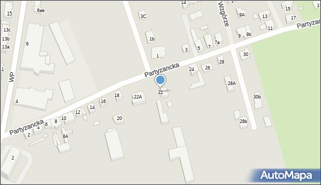 Świebodzin, Partyzancka, 22, mapa Świebodzin