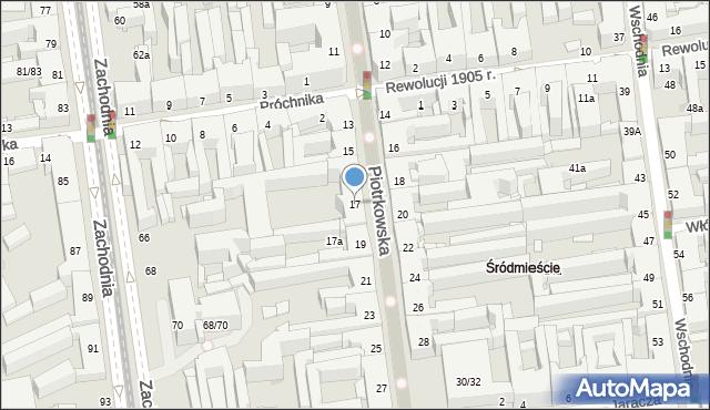 Łódź, Piotrkowska, 17, mapa Łodzi