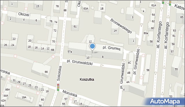 Katowice, Plac Grunwaldzki, 8/10, mapa Katowic