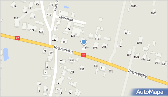 Konin, Poznańska, 112, mapa Konina