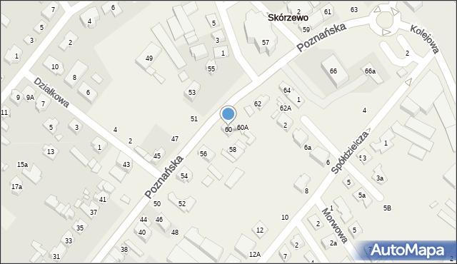 Skorzewo, Poznańska, 60, mapa Skorzewo