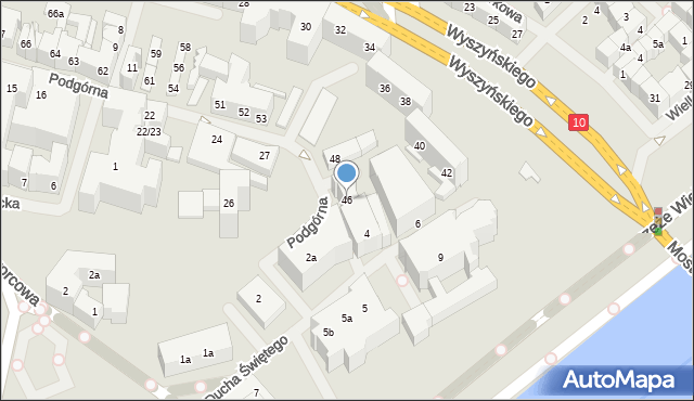Szczecin, Podgórna, 46, mapa Szczecina