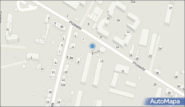 Kraków, Przewóz, 9, mapa Krakowa