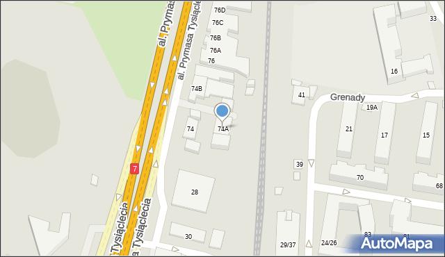 Warszawa, Prymasa Tysiąclecia, 74a, mapa Warszawy