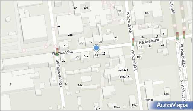 Łódź, Radwańska, 24, mapa Łodzi