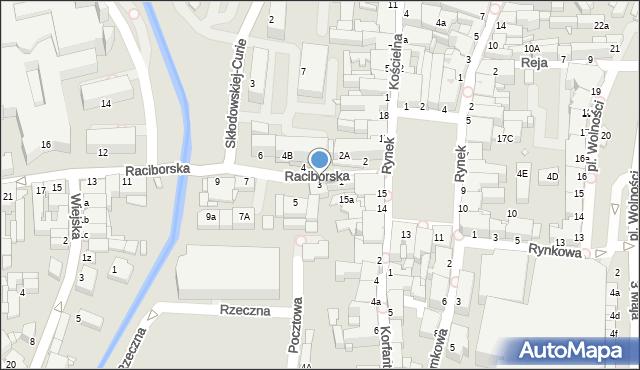 Rybnik, Raciborska, 3, mapa Rybnika
