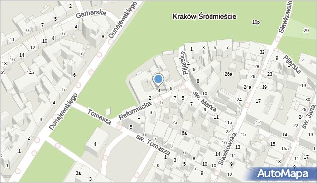Kraków, Reformacka, 4, mapa Krakowa
