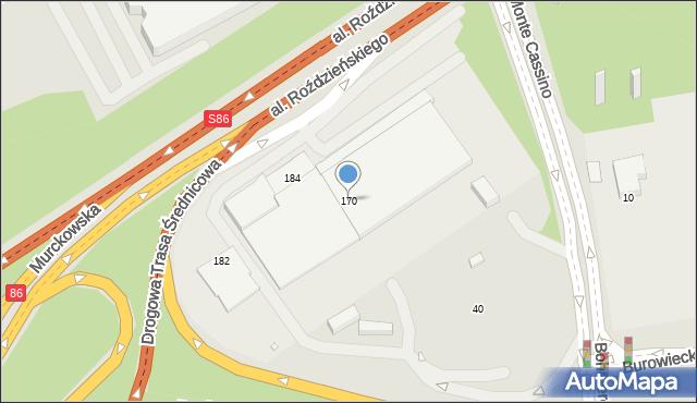 Katowice, Roździeńskiego Walentego, al., 170, mapa Katowic