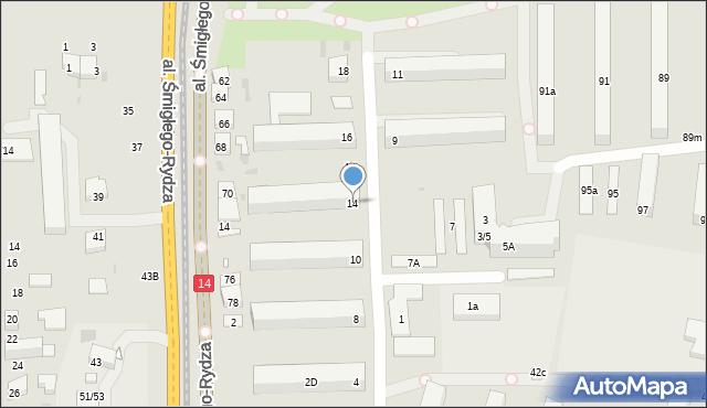 Łódź, Rodakowskiego Henryka, 14, mapa Łodzi