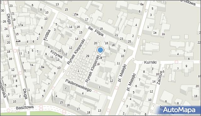 Kraków, Rynek Kleparski, 18, mapa Krakowa
