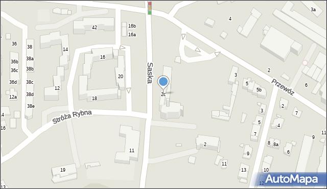 Kraków, Saska, 2c, mapa Krakowa