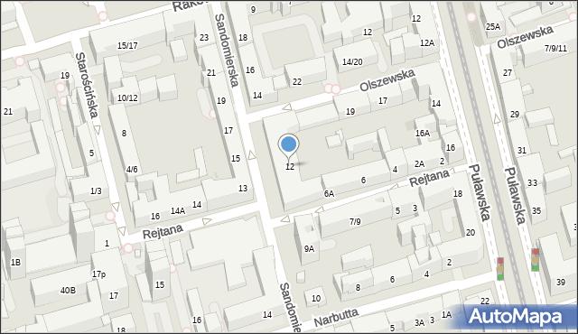 Warszawa, Sandomierska, 12, mapa Warszawy