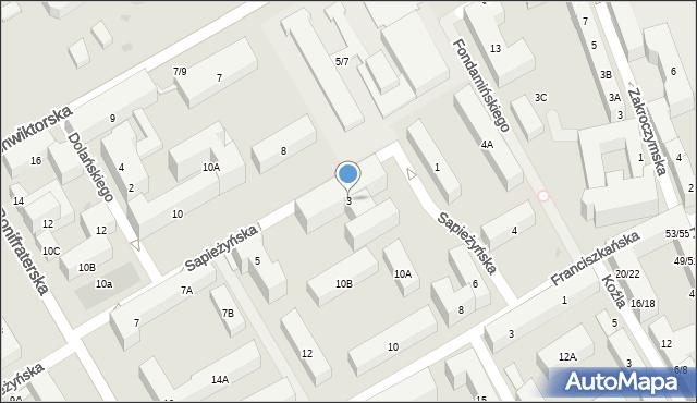 Warszawa, Sapieżyńska, 3, mapa Warszawy
