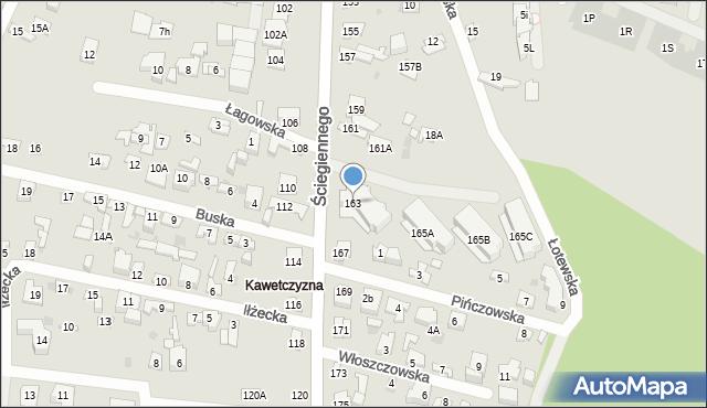 Kielce, Ściegiennego Piotra, 163, mapa Kielc