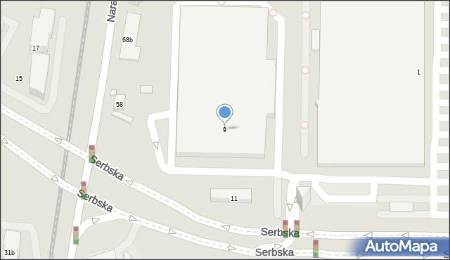 Poznań, Serbska, 9, mapa Poznania