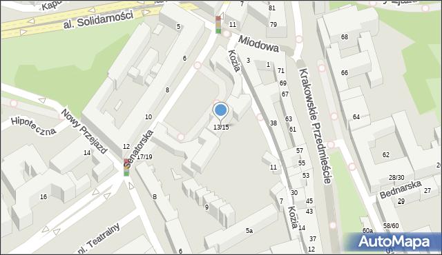 Warszawa, Senatorska, 13/15, mapa Warszawy