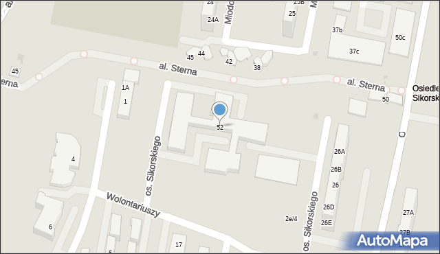 Żory, Sikorskiego, os., 52, mapa Żor