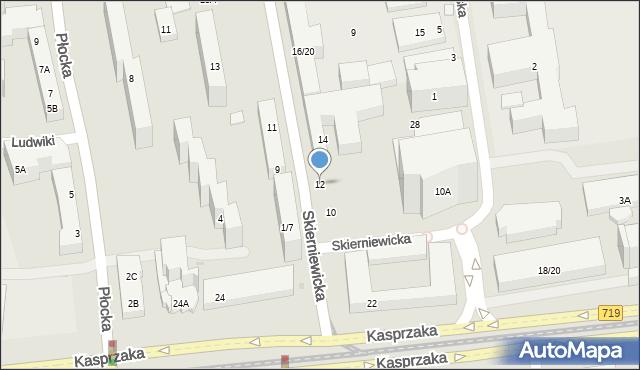 Warszawa, Skierniewicka, 12-14, mapa Warszawy