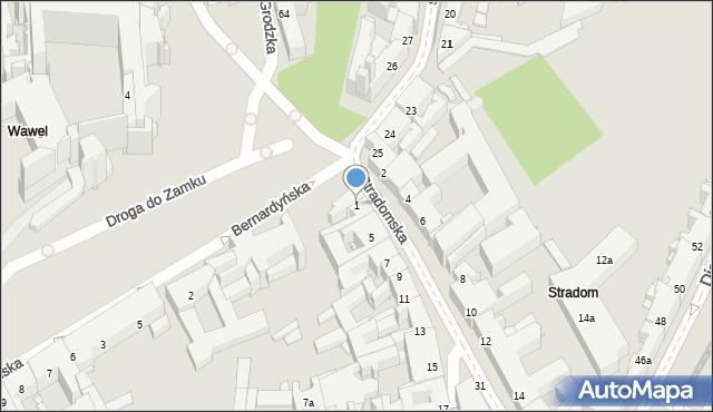 Kraków, Stradomska, 1, mapa Krakowa