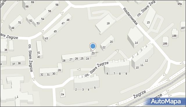 Poznań, Stare Żegrze, os., 23, mapa Poznania