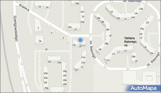 Poznań, Stefana Batorego, 22, mapa Poznania