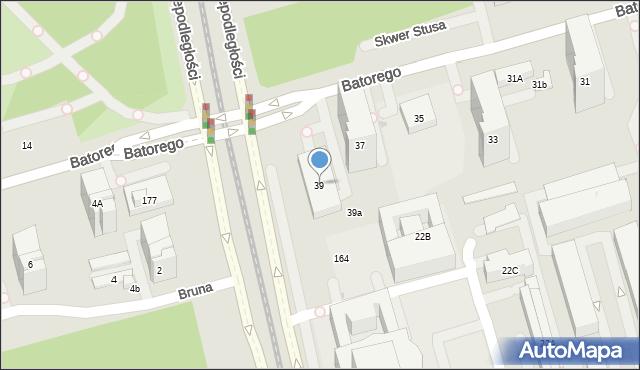 Warszawa, Stefana Batorego, 39, mapa Warszawy